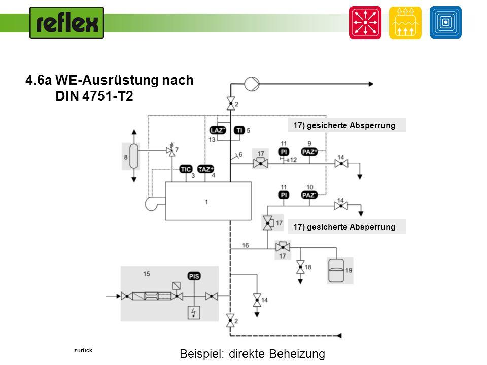 Beispiel: direkte Beheizung... zurück 17) gesicherte Absperrung 4.6a WE-Ausrüstung nach DIN 4751-T2