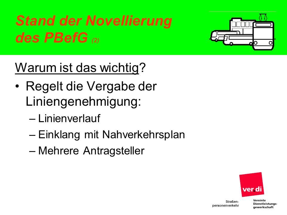 Straßen- personenverkehr Stand der Novellierung des PBefG (2) Warum ist das wichtig? Regelt die Vergabe der Liniengenehmigung: –Linienverlauf –Einklan