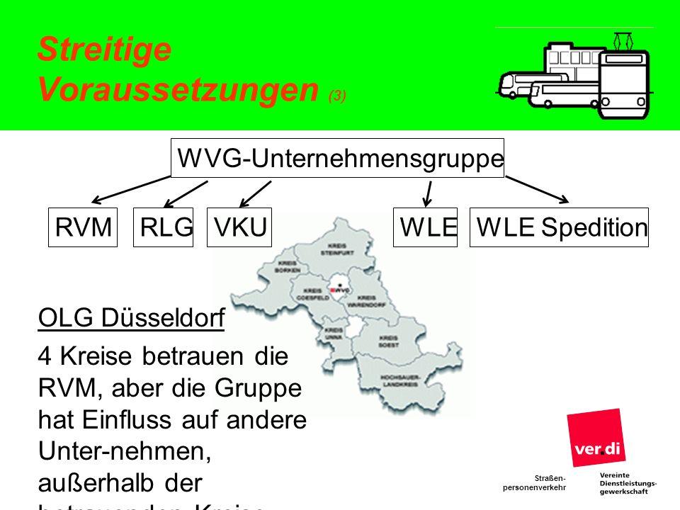 Straßen- personenverkehr Streitige Voraussetzungen (3) OLG Düsseldorf 4 Kreise betrauen die RVM, aber die Gruppe hat Einfluss auf andere Unter-nehmen,