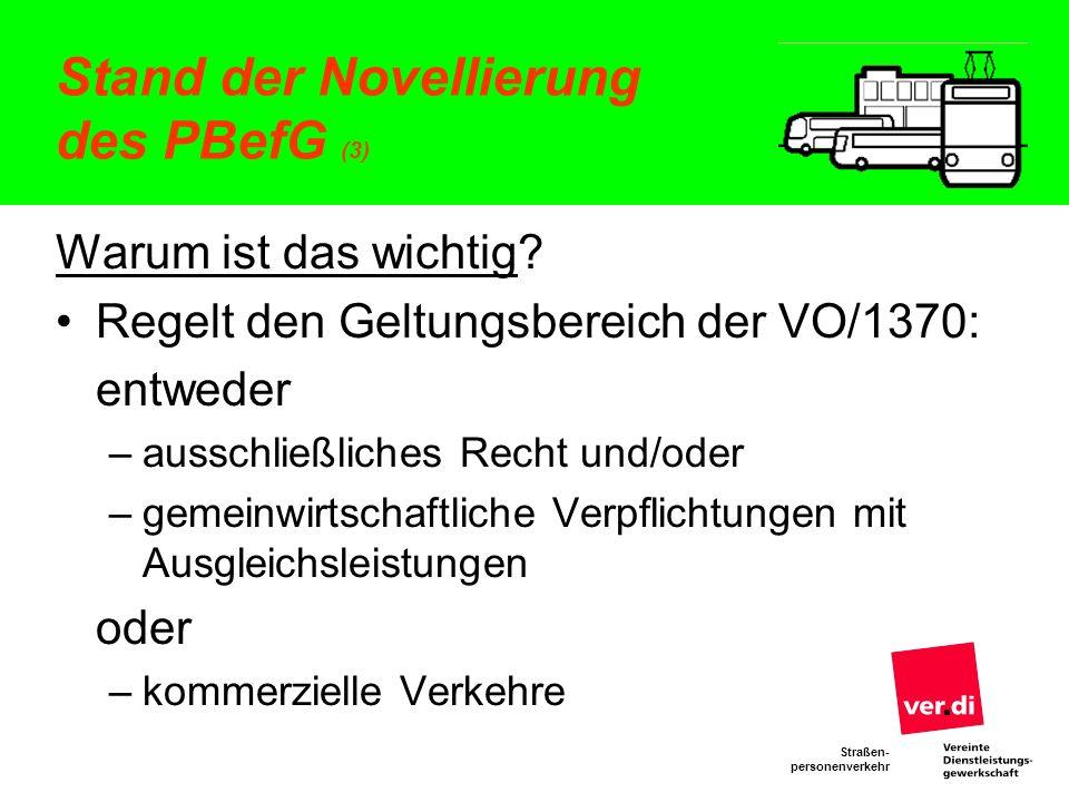 Straßen- personenverkehr Stand der Novellierung des PBefG (3) Warum ist das wichtig? Regelt den Geltungsbereich der VO/1370: entweder –ausschließliche