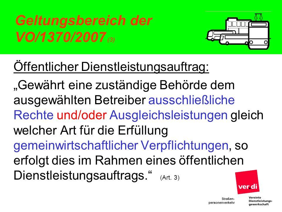 Straßen- personenverkehr Direktvergabe nach der VO 1370 (4) Rechtsschutz nach Art.