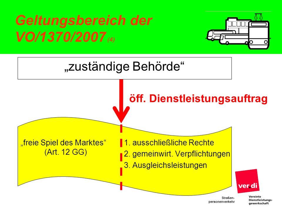 Straßen- personenverkehr Geltungsbereich der VO/1370/2007 (4) zuständige Behörde freie Spiel des Marktes (Art. 12 GG) öff. Dienstleistungsauftrag 1. a