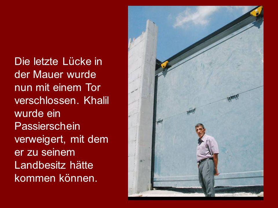 Die letzte Lücke in der Mauer wurde nun mit einem Tor verschlossen. Khalil wurde ein Passierschein verweigert, mit dem er zu seinem Landbesitz hätte k