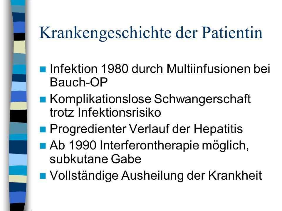 Krankengeschichte der Patientin Infektion 1980 durch Multiinfusionen bei Bauch-OP Komplikationslose Schwangerschaft trotz Infektionsrisiko Progredient