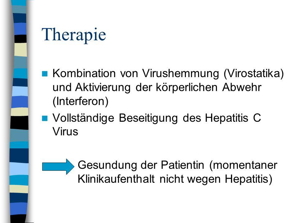 Therapie Kombination von Virushemmung (Virostatika) und Aktivierung der körperlichen Abwehr (Interferon) Vollständige Beseitigung des Hepatitis C Viru
