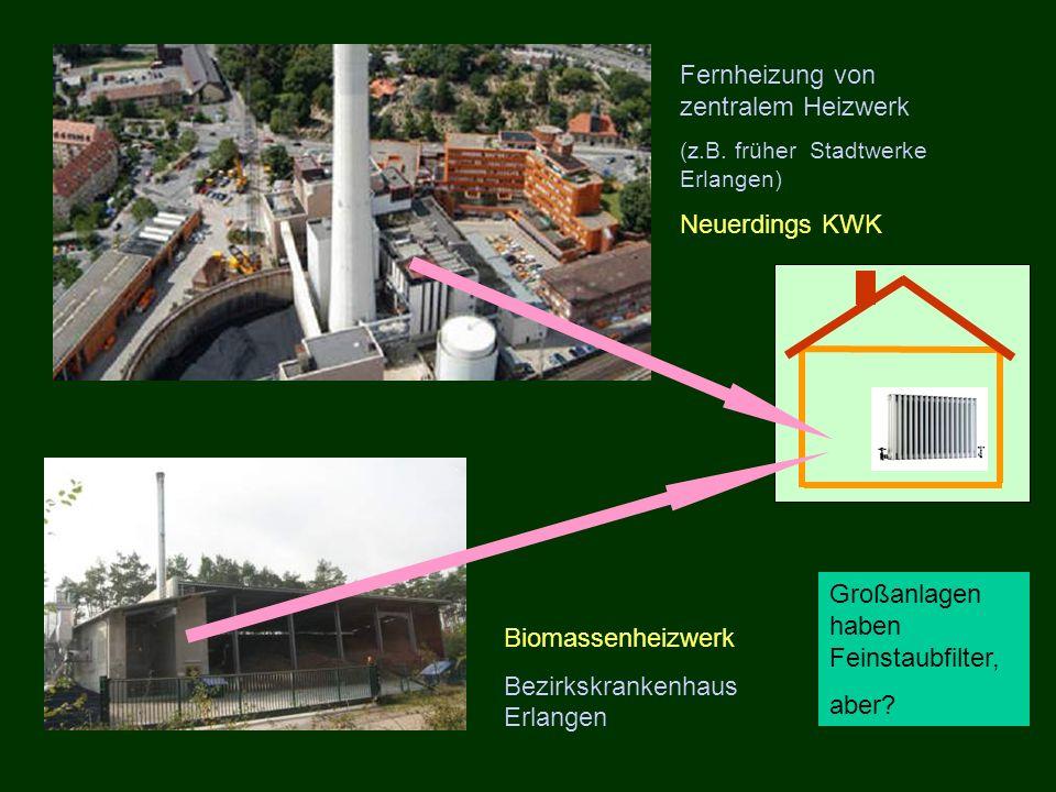 Fernheizung von zentralem Heizwerk (z.B. früher Stadtwerke Erlangen) Neuerdings KWK Biomassenheizwerk Bezirkskrankenhaus Erlangen Großanlagen haben Fe