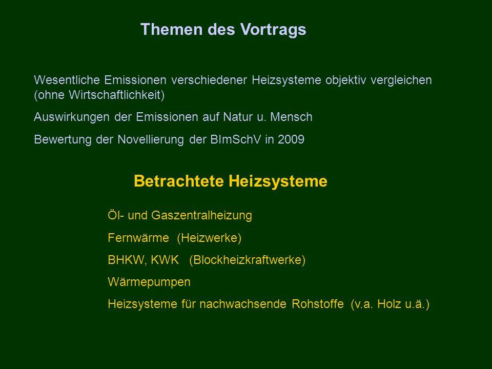 Themen des Vortrags Wesentliche Emissionen verschiedener Heizsysteme objektiv vergleichen (ohne Wirtschaftlichkeit) Auswirkungen der Emissionen auf Na