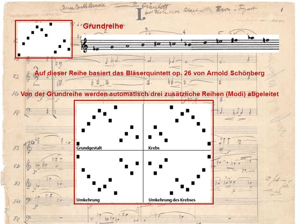 Grundreihe Auf dieser Reihe basiert das Bläserquintett op. 26 von Arnold Schönberg Von der Grundreihe werden automatisch drei zusätzliche Reihen (Modi