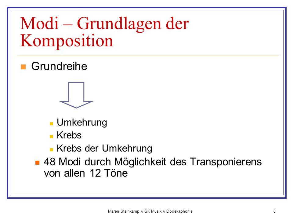 Maren Steinkamp // GK Musik // Dodekaphonie6 Modi – Grundlagen der Komposition Grundreihe Umkehrung Krebs Krebs der Umkehrung 48 Modi durch Möglichkei