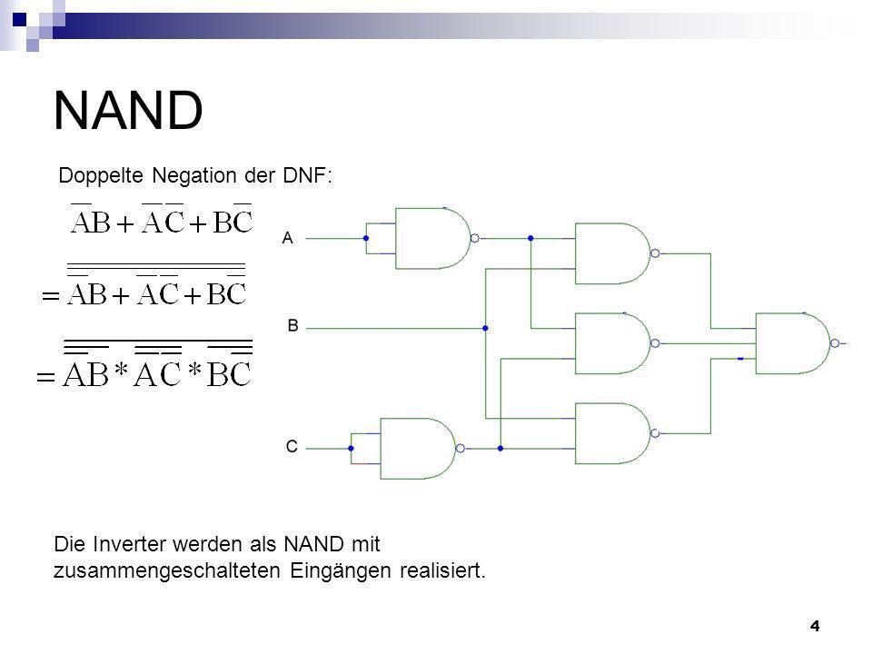 4 NAND Doppelte Negation der DNF: Die Inverter werden als NAND mit zusammengeschalteten Eingängen realisiert.