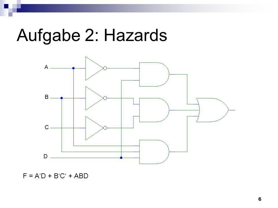 7 Hazards Ungewollte Änderung des Ausgangssignals einer Schaltung Ursachen: Verzögerungszeiten der Gatter statischer 0-Hazard statischer 1-Hazard Behebung im K-Diagramm möglich