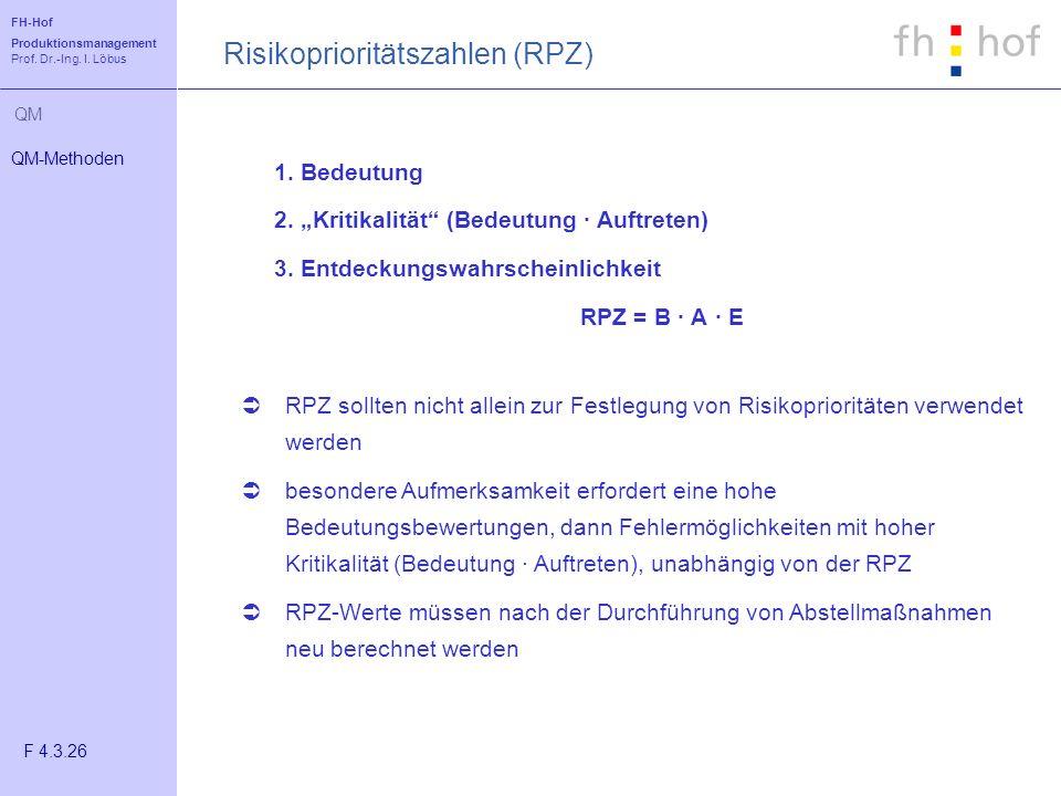 FH-Hof Produktionsmanagement Prof. Dr.-Ing. I. Löbus QM 1. Bedeutung 2. Kritikalität (Bedeutung · Auftreten) 3. Entdeckungswahrscheinlichkeit RPZ = B