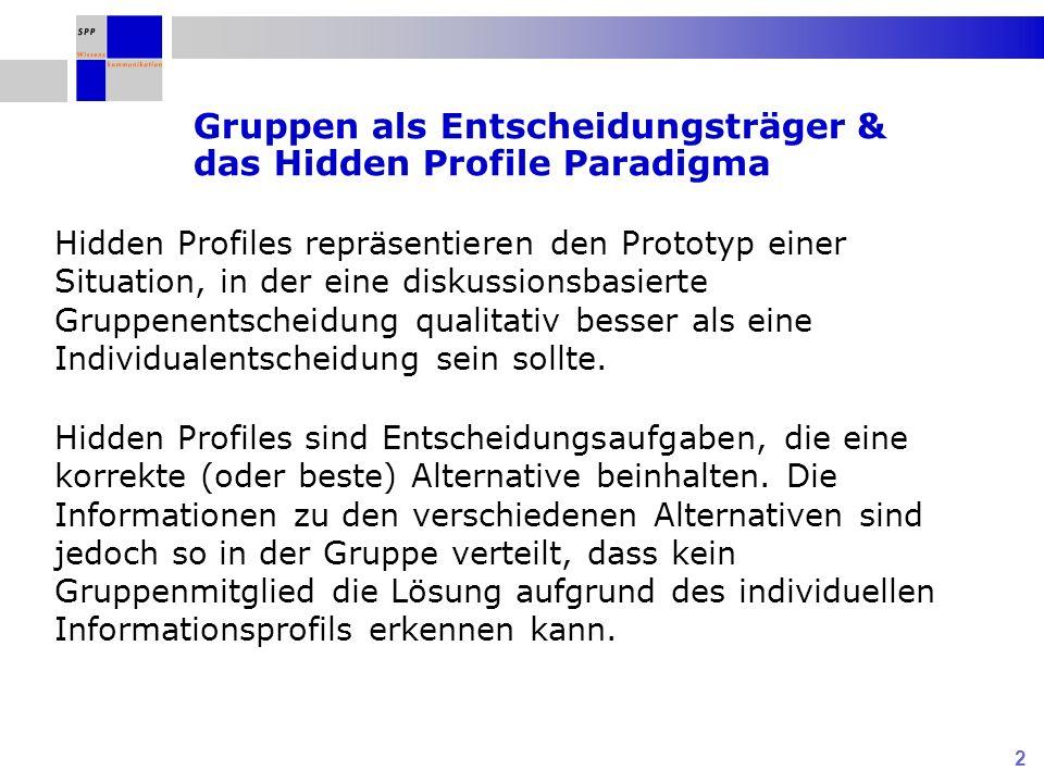 3 Implizite Annahme im Hidden Profile Paradigma: Einbringen von entscheidungsrelevanter Information ist notwendige aber keine hinreichende Bedingung für das Lösen von Hidden Profiles.
