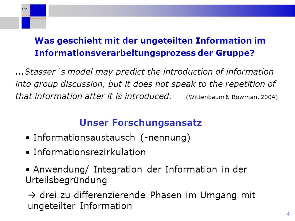 4 Was geschieht mit der ungeteilten Information im Informationsverarbeitungsprozess der Gruppe?...Stasser´s model may predict the introduction of info