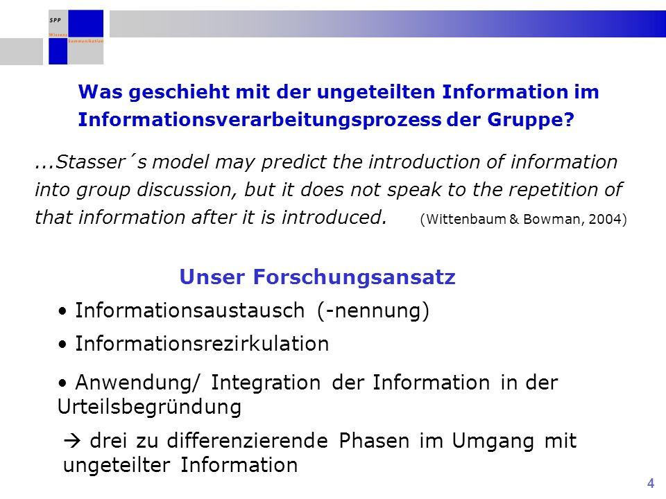 5 H1: Das Rezirkulieren von ungeteilter Information (durch die jeweils anderen Gruppenmitglieder) fördert die Urteilskorrektheit der Gruppe.