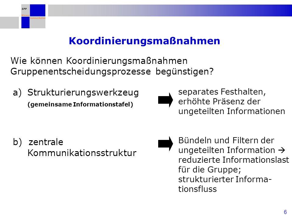 6 Koordinierungsmaßnahmen a)Strukturierungswerkzeug (gemeinsame Informationstafel) b) zentrale Kommunikationsstruktur Wie können Koordinierungsmaßnahm