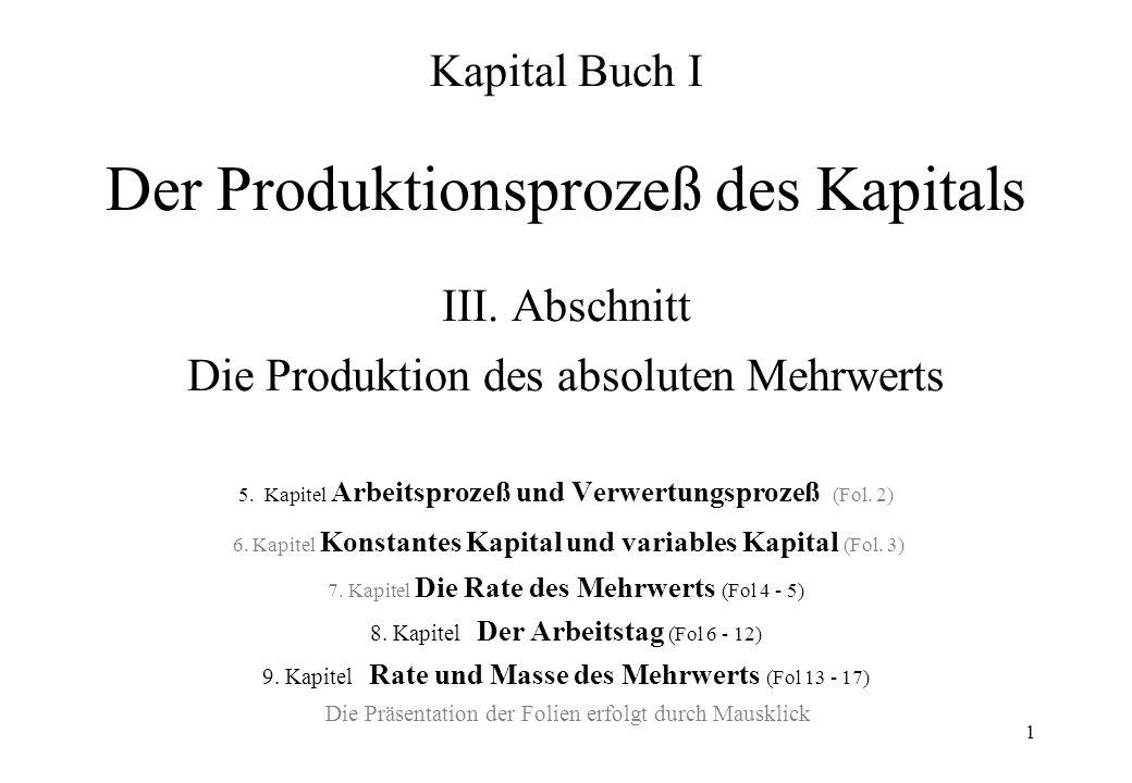1 Kapital Buch I Der Produktionsprozeß des Kapitals III. Abschnitt Die Produktion des absoluten Mehrwerts 5. Kapitel Arbeitsprozeß und Verwertungsproz