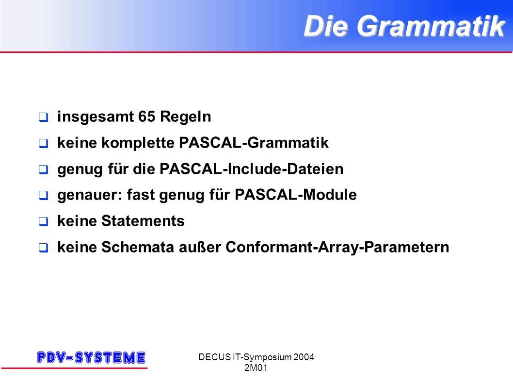 DECUS IT-Symposium 2004 2M01 Die Grammatik insgesamt 65 Regeln keine komplette PASCAL-Grammatik genug für die PASCAL-Include-Dateien genauer: fast genug für PASCAL-Module keine Statements keine Schemata außer Conformant-Array-Parametern