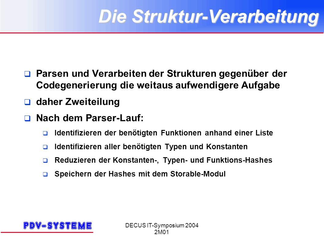 DECUS IT-Symposium 2004 2M01 Die Struktur-Verarbeitung Parsen und Verarbeiten der Strukturen gegenüber der Codegenerierung die weitaus aufwendigere Au