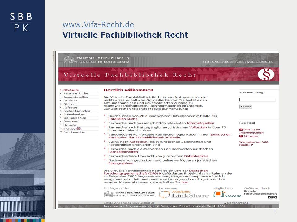 | www.Vifa-Recht.de www.Vifa-Recht.de Virtuelle Fachbibliothek Recht