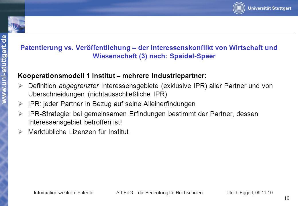 www.uni-stuttgart.de Patentierung vs. Veröffentlichung – der Interessenskonflikt von Wirtschaft und Wissenschaft (3) nach: Speidel-Speer Kooperationsm