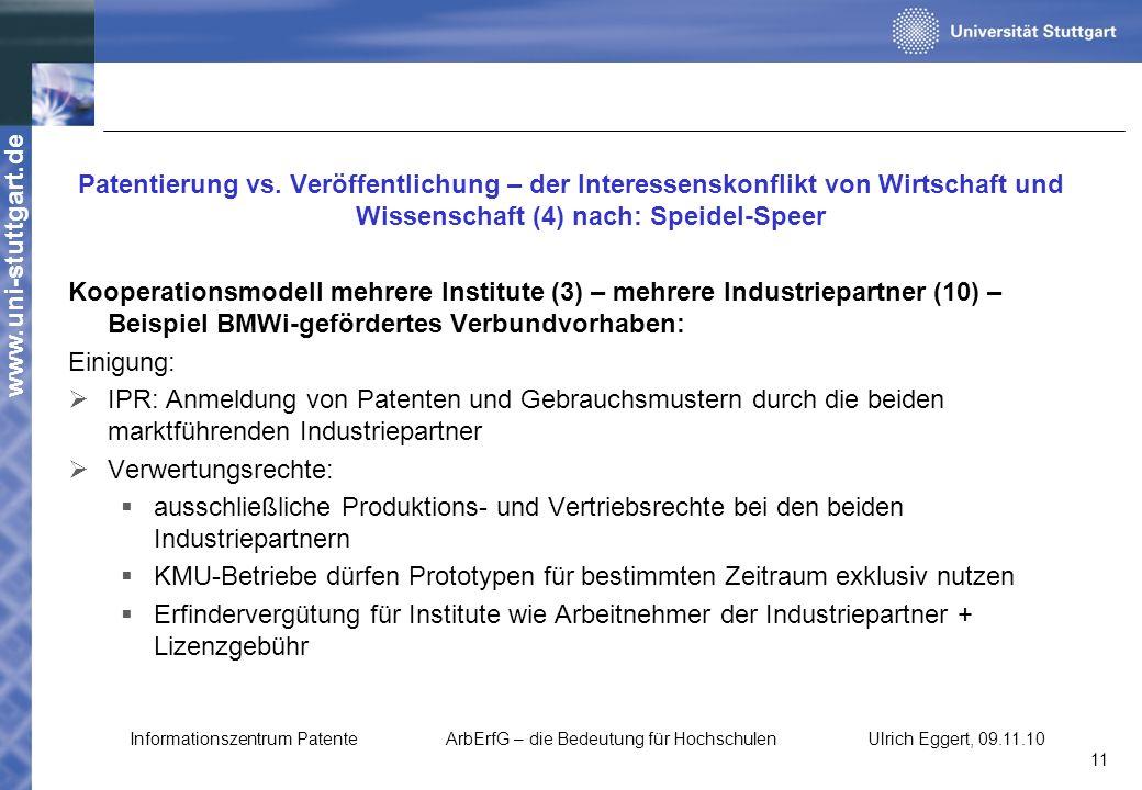 www.uni-stuttgart.de Patentierung vs. Veröffentlichung – der Interessenskonflikt von Wirtschaft und Wissenschaft (4) nach: Speidel-Speer Kooperationsm