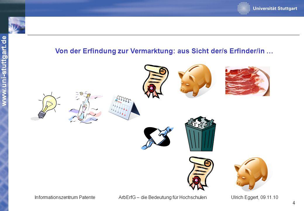 www.uni-stuttgart.de Von der Erfindung zur Vermarktung: aus Sicht der/s Erfinder/in … Informationszentrum PatenteArbErfG – die Bedeutung für Hochschul