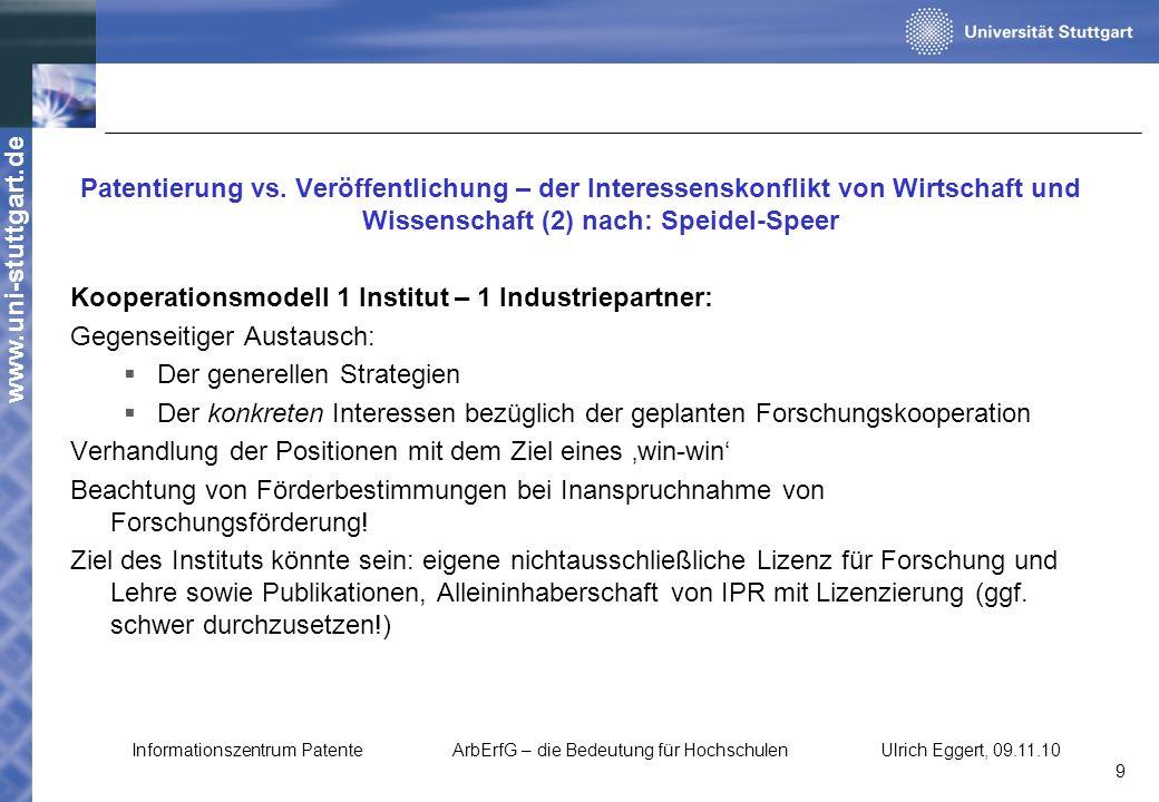 www.uni-stuttgart.de Patentierung vs. Veröffentlichung – der Interessenskonflikt von Wirtschaft und Wissenschaft (2) nach: Speidel-Speer Kooperationsm