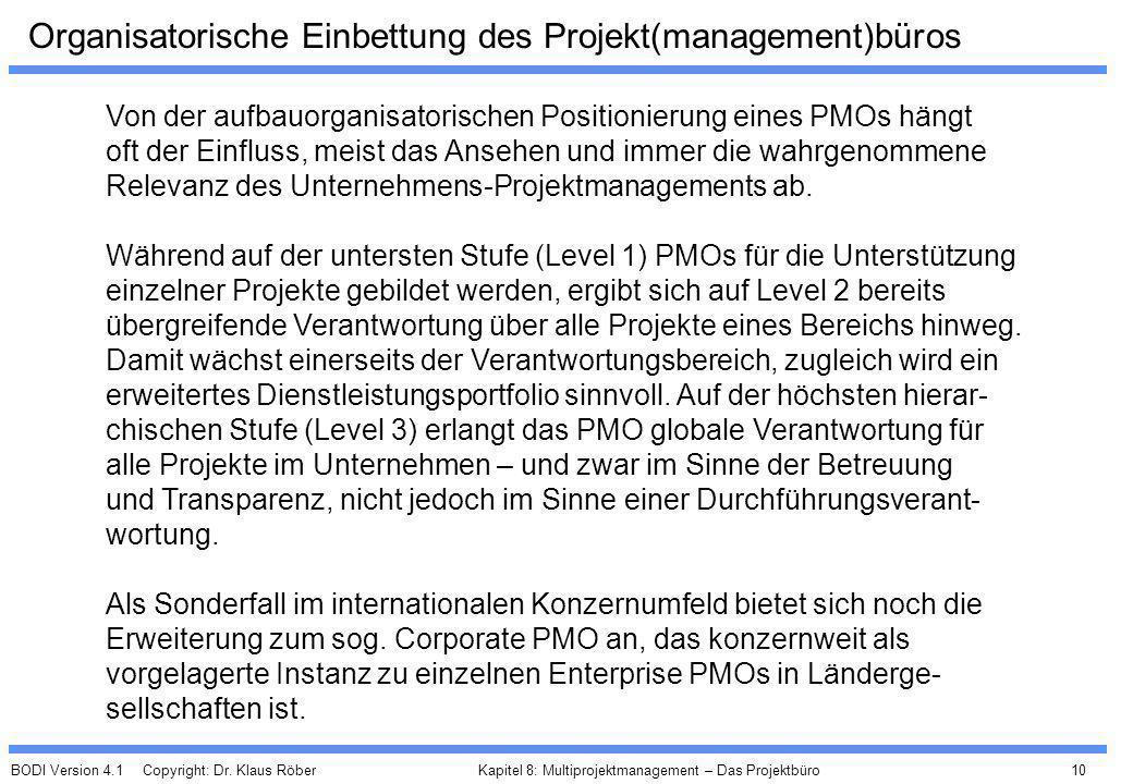BODI Version 4.1 Copyright: Dr. Klaus Röber 10 Kapitel 8: Multiprojektmanagement – Das Projektbüro Organisatorische Einbettung des Projekt(management)