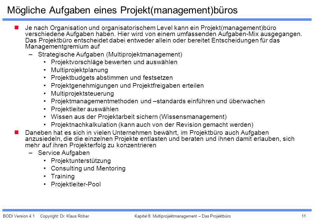 BODI Version 4.1 Copyright: Dr. Klaus Röber 11 Kapitel 8: Multiprojektmanagement – Das Projektbüro Mögliche Aufgaben eines Projekt(management)büros Je