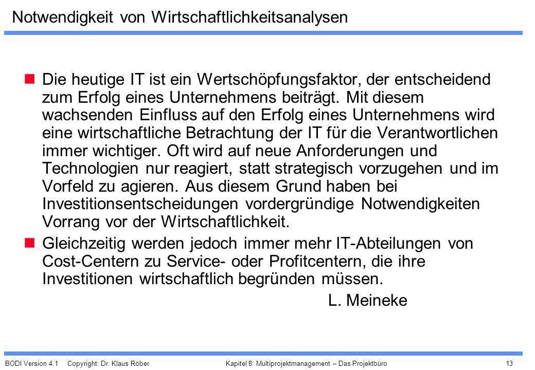 BODI Version 4.1 Copyright: Dr. Klaus Röber 13 Kapitel 8: Multiprojektmanagement – Das Projektbüro Notwendigkeit von Wirtschaftlichkeitsanalysen Die h