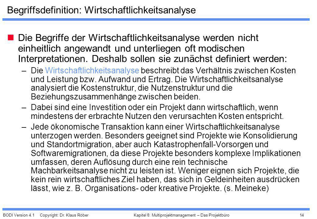 BODI Version 4.1 Copyright: Dr. Klaus Röber 14 Kapitel 8: Multiprojektmanagement – Das Projektbüro Begriffsdefinition: Wirtschaftlichkeitsanalyse Die
