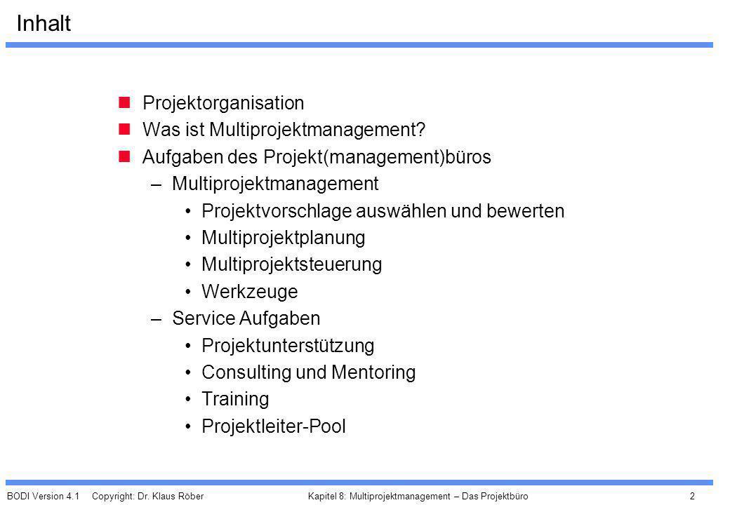BODI Version 4.1 Copyright: Dr. Klaus Röber 2 Kapitel 8: Multiprojektmanagement – Das Projektbüro Inhalt Projektorganisation Was ist Multiprojektmanag