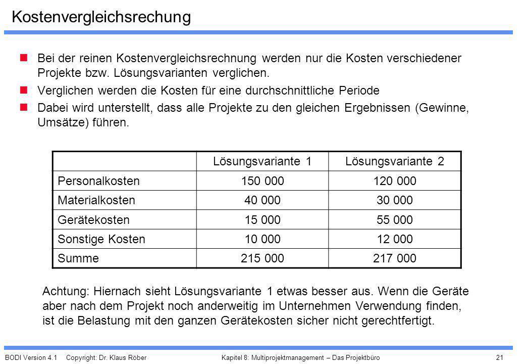 BODI Version 4.1 Copyright: Dr. Klaus Röber 21 Kapitel 8: Multiprojektmanagement – Das Projektbüro Kostenvergleichsrechung Bei der reinen Kostenvergle