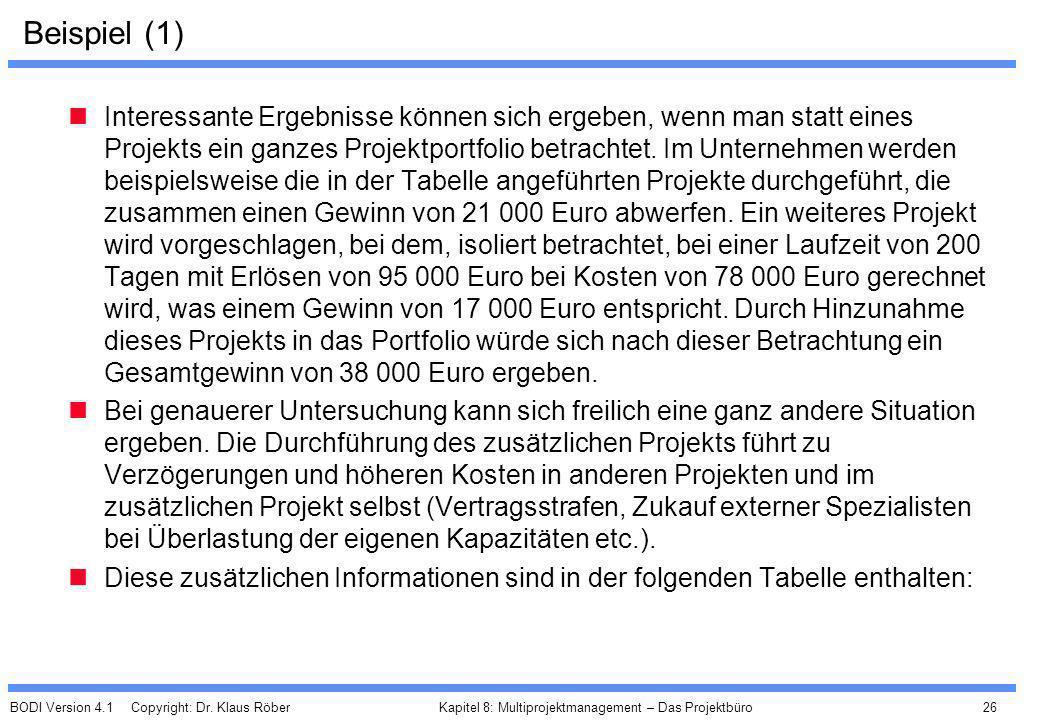 BODI Version 4.1 Copyright: Dr. Klaus Röber 26 Kapitel 8: Multiprojektmanagement – Das Projektbüro Beispiel (1) Interessante Ergebnisse können sich er