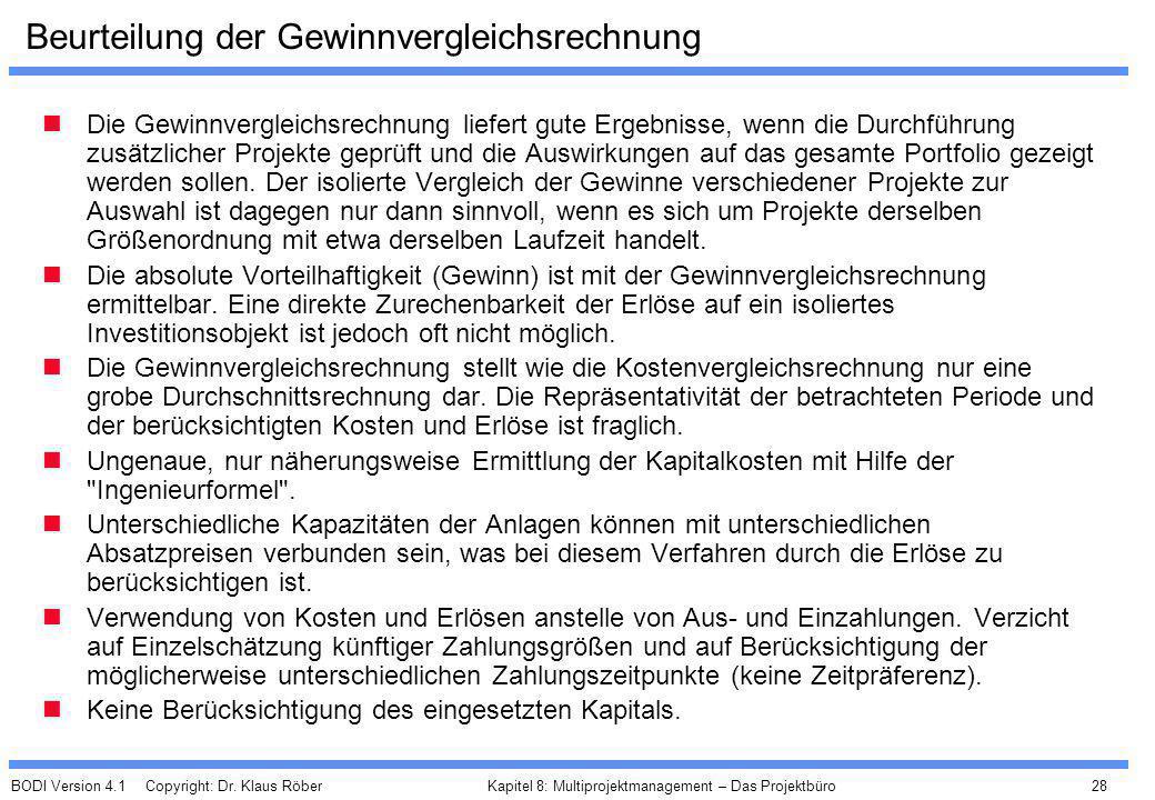 BODI Version 4.1 Copyright: Dr. Klaus Röber 28 Kapitel 8: Multiprojektmanagement – Das Projektbüro Beurteilung der Gewinnvergleichsrechnung Die Gewinn