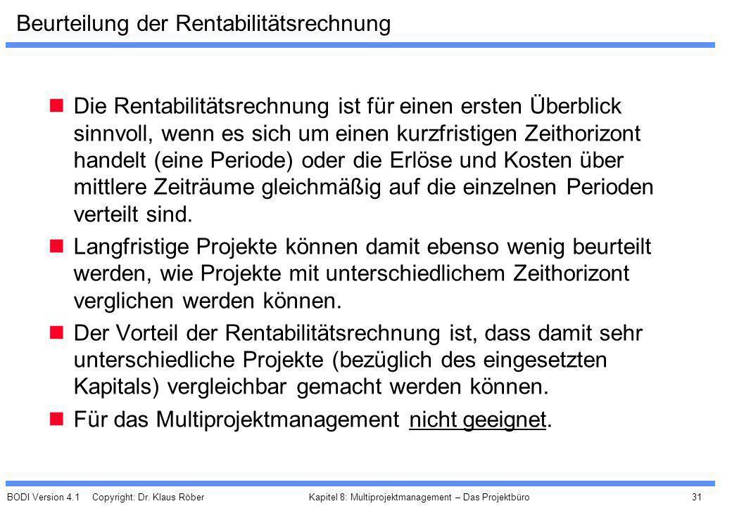 BODI Version 4.1 Copyright: Dr. Klaus Röber 31 Kapitel 8: Multiprojektmanagement – Das Projektbüro Beurteilung der Rentabilitätsrechnung Die Rentabili