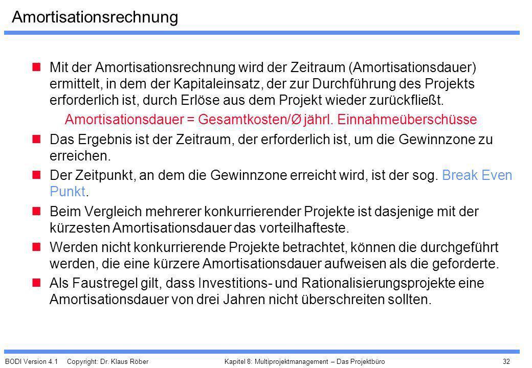 BODI Version 4.1 Copyright: Dr. Klaus Röber 32 Kapitel 8: Multiprojektmanagement – Das Projektbüro Amortisationsrechnung Mit der Amortisationsrechnung