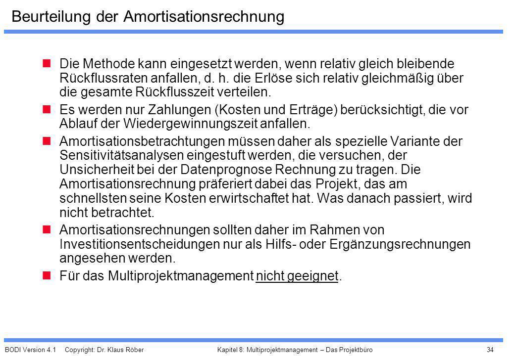 BODI Version 4.1 Copyright: Dr. Klaus Röber 34 Kapitel 8: Multiprojektmanagement – Das Projektbüro Beurteilung der Amortisationsrechnung Die Methode k
