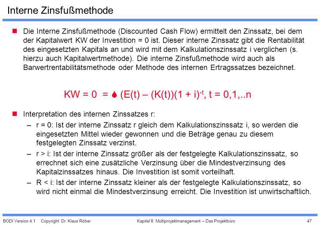 BODI Version 4.1 Copyright: Dr. Klaus Röber 47 Kapitel 8: Multiprojektmanagement – Das Projektbüro Interne Zinsfußmethode Die Interne Zinsfußmethode (