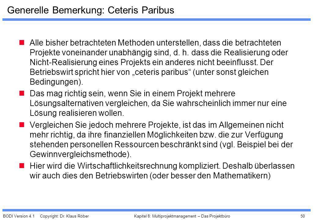 BODI Version 4.1 Copyright: Dr. Klaus Röber 50 Kapitel 8: Multiprojektmanagement – Das Projektbüro Generelle Bemerkung: Ceteris Paribus Alle bisher be
