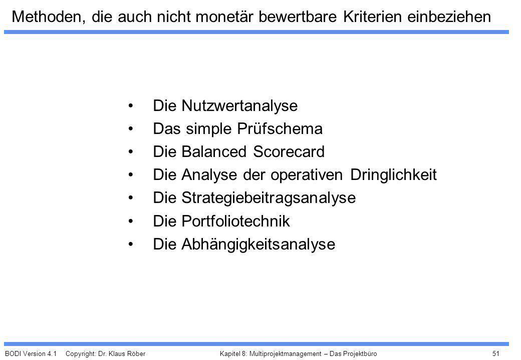 BODI Version 4.1 Copyright: Dr. Klaus Röber 51 Kapitel 8: Multiprojektmanagement – Das Projektbüro Methoden, die auch nicht monetär bewertbare Kriteri