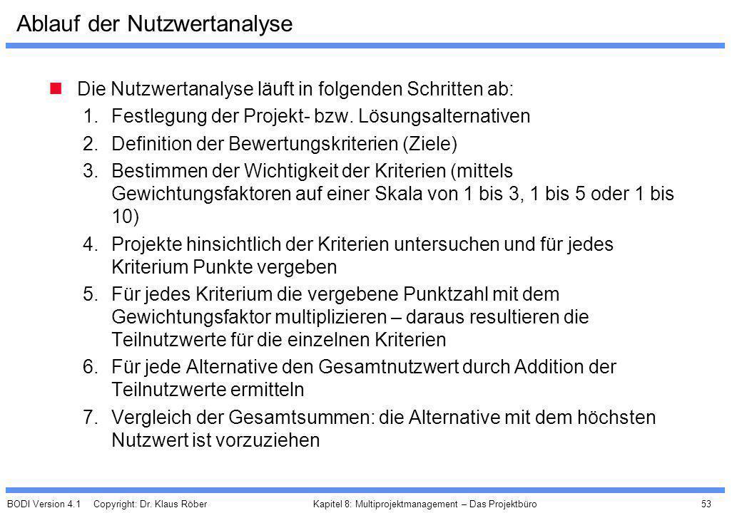 BODI Version 4.1 Copyright: Dr. Klaus Röber 53 Kapitel 8: Multiprojektmanagement – Das Projektbüro Ablauf der Nutzwertanalyse Die Nutzwertanalyse läuf