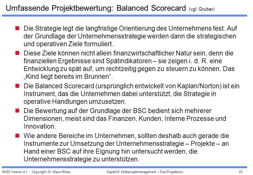 BODI Version 4.1 Copyright: Dr. Klaus Röber 63 Kapitel 8: Multiprojektmanagement – Das Projektbüro Umfassende Projektbewertung: Balanced Scorecard (vg