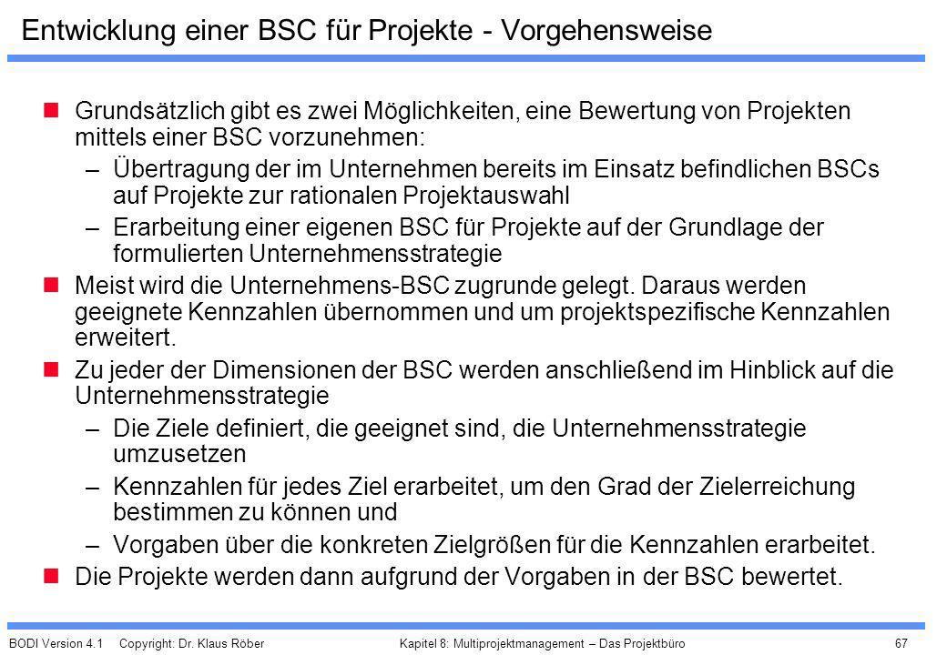 BODI Version 4.1 Copyright: Dr. Klaus Röber 67 Kapitel 8: Multiprojektmanagement – Das Projektbüro Entwicklung einer BSC für Projekte - Vorgehensweise