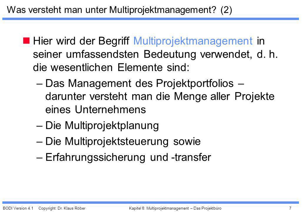 BODI Version 4.1 Copyright: Dr. Klaus Röber 7 Kapitel 8: Multiprojektmanagement – Das Projektbüro Was versteht man unter Multiprojektmanagement? (2) H