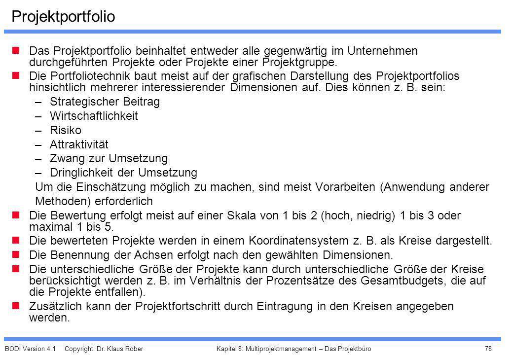 BODI Version 4.1 Copyright: Dr. Klaus Röber 78 Kapitel 8: Multiprojektmanagement – Das Projektbüro Projektportfolio Das Projektportfolio beinhaltet en