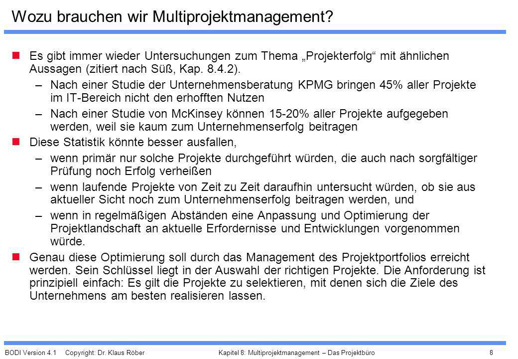 BODI Version 4.1 Copyright: Dr. Klaus Röber 8 Kapitel 8: Multiprojektmanagement – Das Projektbüro Wozu brauchen wir Multiprojektmanagement? Es gibt im