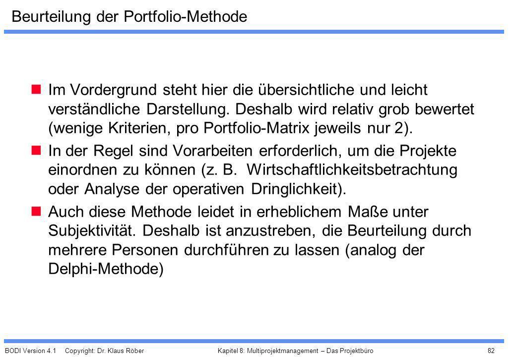 BODI Version 4.1 Copyright: Dr. Klaus Röber 82 Kapitel 8: Multiprojektmanagement – Das Projektbüro Beurteilung der Portfolio-Methode Im Vordergrund st