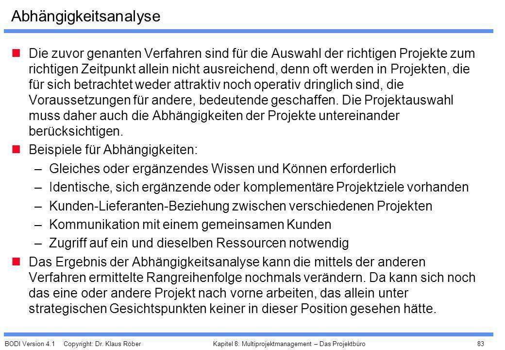 BODI Version 4.1 Copyright: Dr. Klaus Röber 83 Kapitel 8: Multiprojektmanagement – Das Projektbüro Abhängigkeitsanalyse Die zuvor genanten Verfahren s